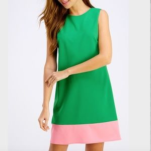 2Hearts Kelly Green and Pink Trim Shift Dress